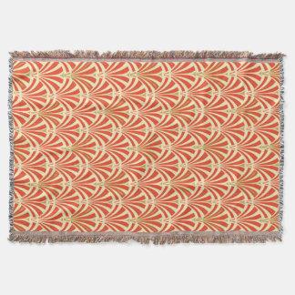 Art Deco fan pattern - mandarin orange Throw Blanket