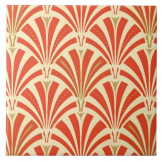 Art Deco fan pattern - mandarin orange Tile