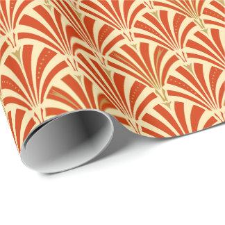 Art Deco fan pattern - mandarin orange Wrapping Paper
