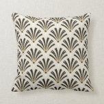 Art Deco Fan Pattern on Cream 2 Cushion