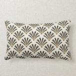 Art Deco Fan Pattern on Cream Lumbar Cushion