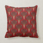 Art Deco Fan Pattern on Red 2 Cushion