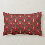 Art Deco Fan Pattern on Red Lumbar Cushion