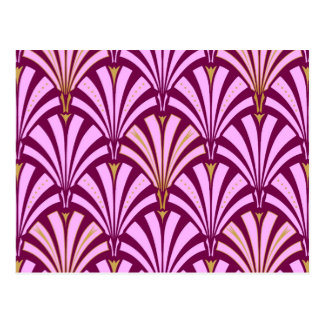 Art Deco fan pattern - orchid and purple Postcard
