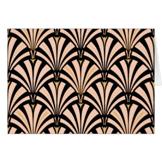 Art Deco fan pattern - peach on black Card