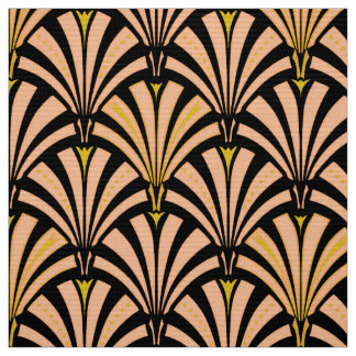 Art Deco fan pattern - peach on black Fabric