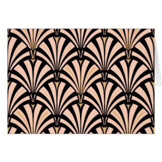 Art Deco fan pattern - peach on black Note Card