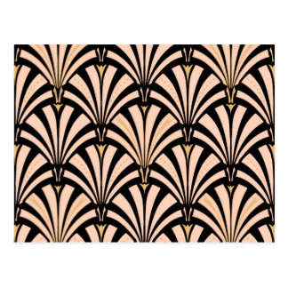 Art Deco fan pattern - peach on black Postcard