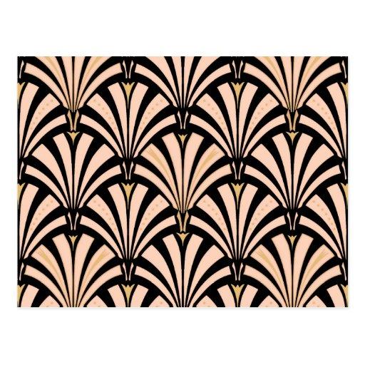 Art Deco fan pattern - peach on black Postcards
