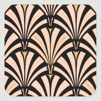 Art Deco fan pattern - peach on black Square Sticker