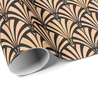 Art Deco fan pattern - peach on black Wrapping Paper