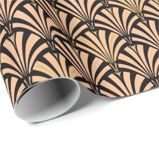 Art Deco fan pattern - peach on black Wrapping Paper
