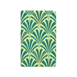 Art Deco fan pattern - pine and mint green Journal
