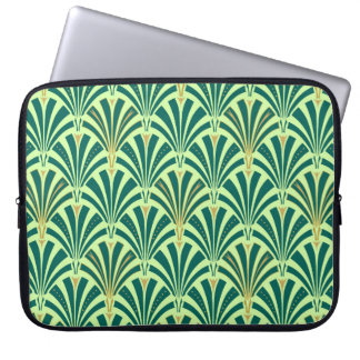 Art Deco fan pattern - pine and mint green Laptop Computer Sleeves