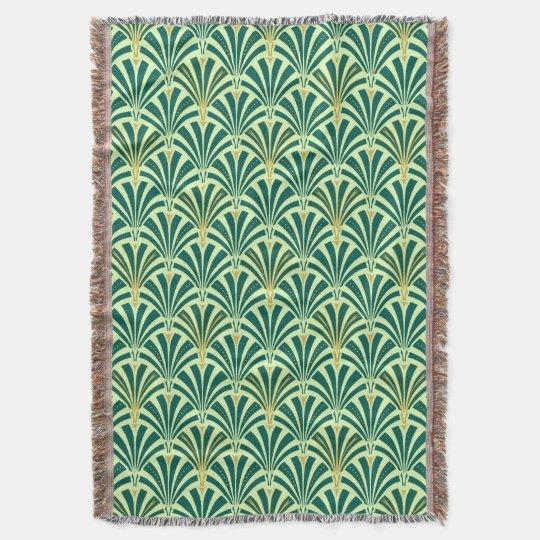 Art Deco fan pattern - pine and mint