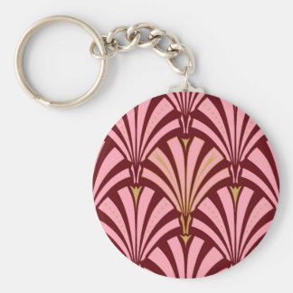 Art Deco fan pattern - pink and maroon Basic Round Button Key Ring