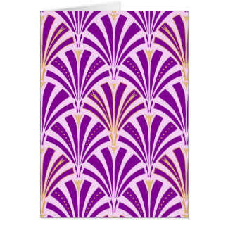 Art Deco fan pattern - purple and orchid Card