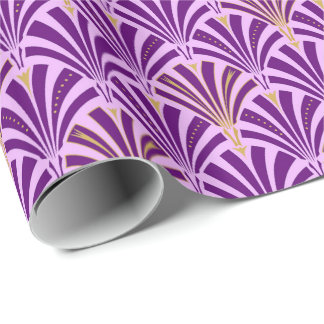 Art Deco fan pattern - purple and orchid Wrapping Paper