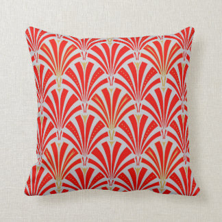 Art Deco fan pattern - red on pearl gray Cushion