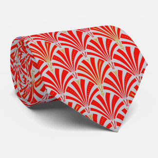 Art Deco fan pattern - red on pearl gray Tie