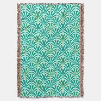 Art Deco fan pattern - turquoise on aqua