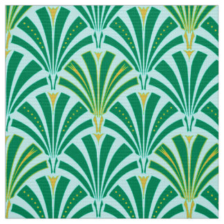 Art Deco fan pattern - turquoise on aqua Fabric