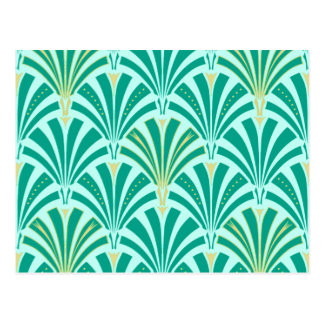 Art Deco fan pattern - turquoise on aqua Postcard
