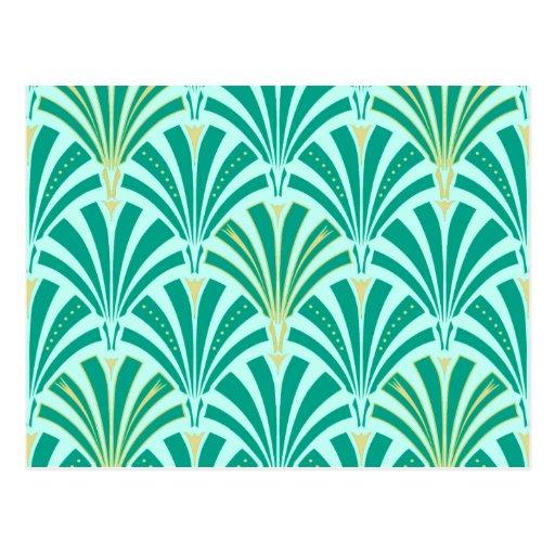 Art Deco fan pattern - turquoise on aqua Postcards