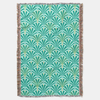 Art Deco fan pattern - turquoise on aqua Throw Blanket