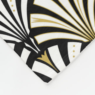 Art Deco fan pattern - white and black Fleece Blanket