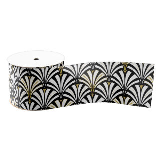 Art Deco fan pattern - white and black Grosgrain Ribbon