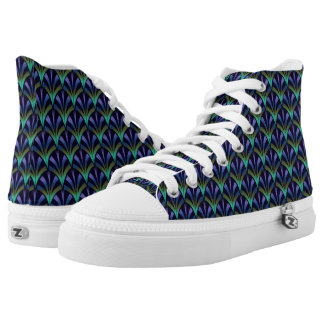 Art Deco Fans Geometric Pattern in Peacock Colors High Tops