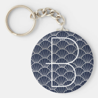 Art Deco Fans in Blue and Silver with Monogram Basic Round Button Key Ring