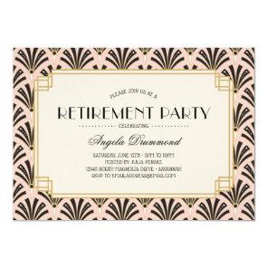 Art Deco Fans Retirement Party Blush Pink Invitation