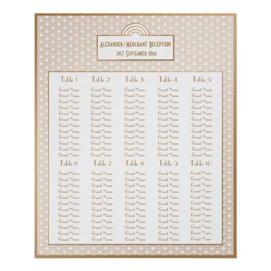 Art Deco Fans Wedding Seating Arrangement Chart