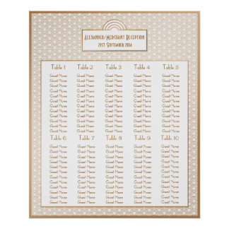 Art Deco Fans Wedding Seating Arrangement Chart Poster