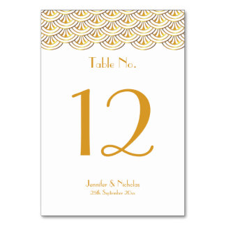 Art Deco Fans White & Gold Wedding Table Number