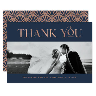 Art Deco Faux Rose Gold on Navy | Photo Thank You Card
