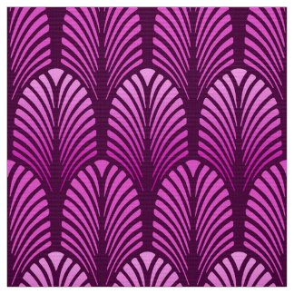Art Deco Feather Pattern, Amethyst Purple Fabric
