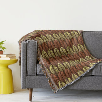 Art Deco Feather Pattern, Dark Brown and Rust Throw Blanket