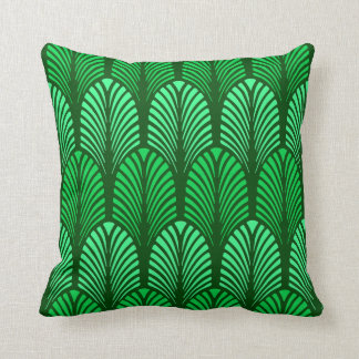 Art Deco Feather Pattern, Emerald Green Cushion