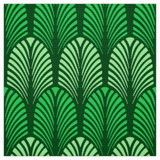 Art Deco Feather Pattern, Emerald Green Fabric