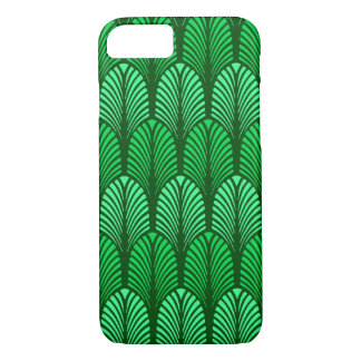 Art Deco Feather Pattern, Emerald Green iPhone 8/7 Case