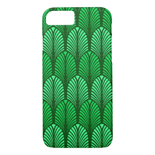 Art Deco Feather Pattern, Emerald Green iPhone 8/7