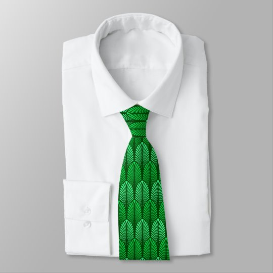 Art Deco Feather Pattern, Emerald Green Tie
