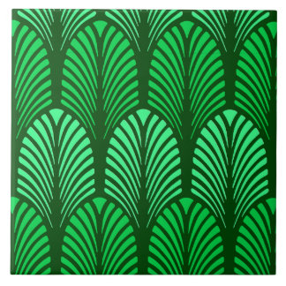 Art Deco Feather Pattern, Emerald Green Tile