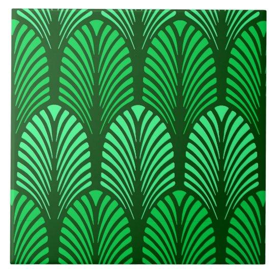 Art Deco Feather Pattern Emerald Green Tile