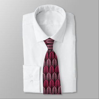 Art Deco Feather Pattern, Fuchsia Pink and Black Tie