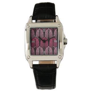 Art Deco Feather Pattern, Fuchsia Pink and Black Wristwatches