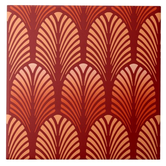Art Deco Feather Pattern, Mandarin Orange Tile